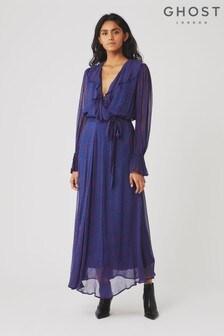 Ghost London Blue Su Heart Print Georgette Dress