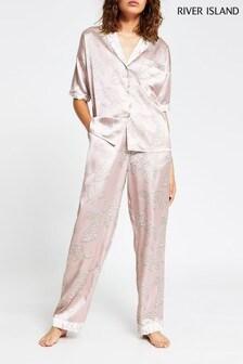 River Island Cream Tiger Print Pyjama Bottoms