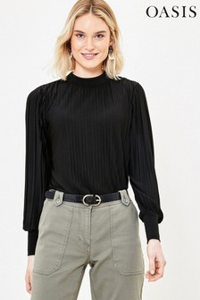 Oasis Black Pleated Long Sleeve Top