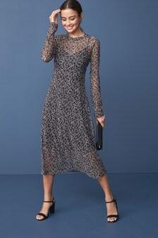 Long Sleeve Mesh Midi Dress