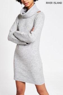 River Island Grey Caz Snood Dress