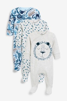3 Pack Lion Sleepsuits (0mths-2yrs)