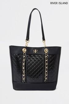 River Island Black Patent Monogram Shopper Bag