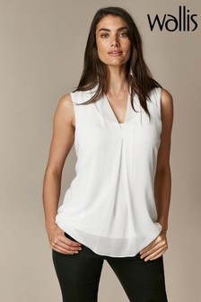 Wallis White Chiffon Plain Top