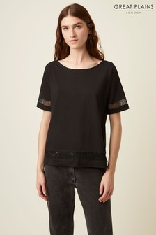 Great Plains Black Lois Lace Mix T-Shirt