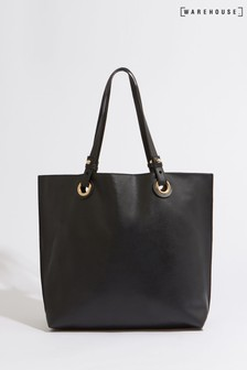 Warehouse Black Eyelet Shopper Bag