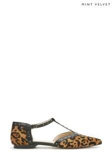 Mint Velvet Julie Leopard Stud Flat Pumps