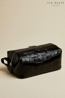 Ted Baker Black Crawl Leather Exotic Washbag