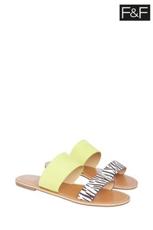 F&F Lime Zebra Two Strap Sliders