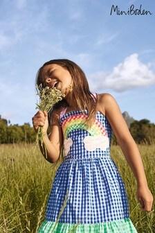 Boden Blue Gingham Woven Sun Dress
