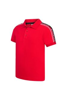 Boys Red Cotton Poloshirt