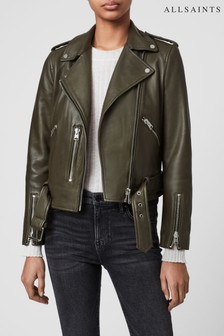 AllSaints Khaki Leather Balfern Biker Jacket