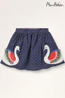 Mini Boden Blue Fun Frill Appliqué Skirt