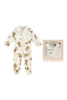Girls Ivory Cotton Teddy Bear Babygrow