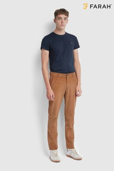 Farah Tobacco Brown Elm Slim Fit Cord Chinos