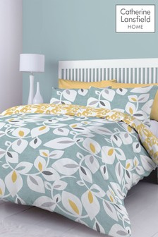 Inga Leaf Duvet Cover and Pillowcase Set by Catherine Lansfield