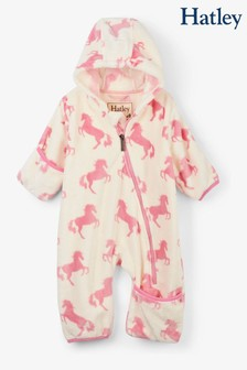 Hatley Natural Playful Horses Fuzzy Fleece Baby Bundler