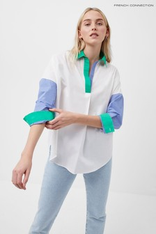 French Connection White Ceises Colourblock Pop-Over Shirt