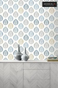 Arthouse Blue Amira Leaf Wallpaper