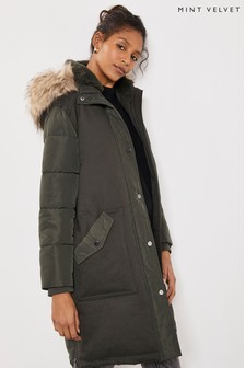 Mint Velvet Green Utility Padded Parka Coat