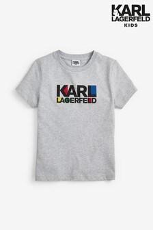 Karl Lagerfeld Kids Grey Text T-Shirt