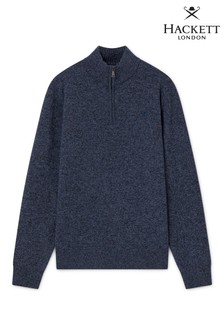 Hackett Blue Lambswool Zip Sweatshirt