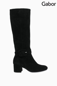 Gabor Black Carnation Medium Calf Fit Suede Long Leg Boots