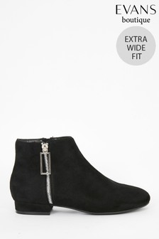 Evans Extra Wide Fit Black Rectangle Zip Ankle Boots