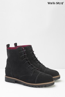 White Stuff Black Carly Flat Lace-Up Boots