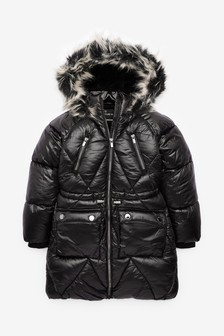 High Shine Shower Resistant Diamond Quilted Padded Jacket (3-16yrs)