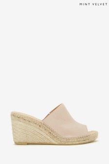 Mint Velvet Julia Pale Pink Leather Mules