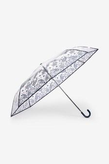 Navy Floral Print Crook Handle Umbrella