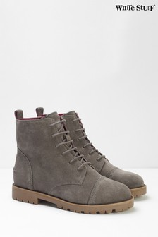 White Stuff Brown Carly Flat Lace-Up Boots