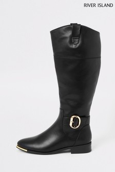 River Island Black Travis Riding Boots