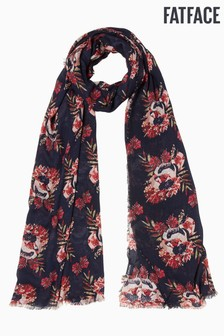 FatFace Blue Peony Floral Scarf