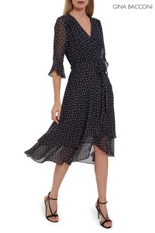 Gina Bacconi Blue Franny Spot Chiffon Dress