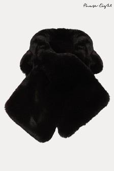 Phase Eight Black Natalie Fur Collar Scarf