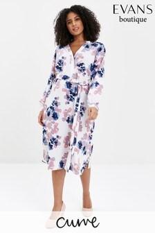Evans Curve Blossom Print Shirt Dress