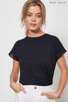 Mint Velvet Navy Broderie Sleeve T-Shirt