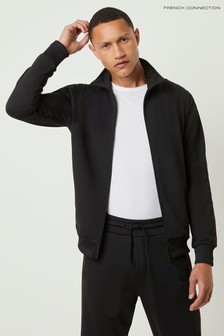 French Connection Black Vintage Track Sweat Jacket