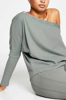 River Island Khaki Asym Off Shoulder Sweat Top