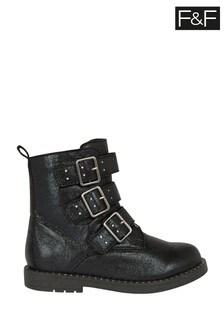F&F Black Girls Sparkle Mid Cut Boots