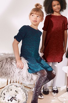 Sparkle Ruched Sleeve Dress (3-16yrs)