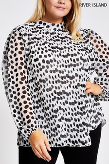 River Island White Print Plus Size Megan Plissé Top