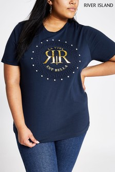 River Island Navy Print Embossed T-Shirt