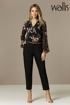 Wallis Petite Black Belted Cigarette Trousers