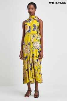 Whistles Yellow Peria Exotic Floral Dress