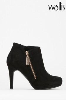 Wallis Black Ace Side Zip Platform Boots