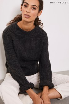Mint Velvet Grey Chunky Stitch Boat Neck Knit Jumper