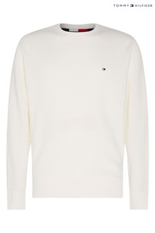 Tommy Hilfiger White Weave Structured Sweater